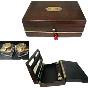 Large Antique Writing Box with Contents. English Victorian. Triple Folding. Embossed Leather .