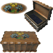 Charming Swiss Wooden Jewelry Box. Hand Painted Top