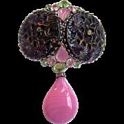 SALE Schreiner Huge Black 'Spanish Mantilla' & Pink Art Glass Drop Brooch-cum-Pendant