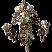 REDUCED Juliana (D&E) Rare AB Rivoli & 'Black Diamond' Spear Crystal Brooch & Earrings Set