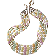 Fanciful Pastel 'Gelato' Bead Collar Necklace, Made in Italy