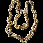Long, Lustrous Faux Pearl-and-Chains Faux Sautoir Necklace, Monette of Paris