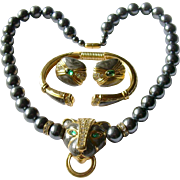 SALE Famous 'Duchess of Windsor' Jeweled Panther Parure, 1988 KJL (Kenneth Jay Lane) for Avon