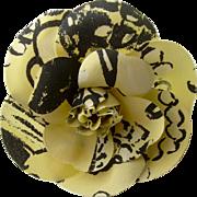 SALE Chanel Yellow & Black Logo Print Fabric Camellia Brooch-cum-Corsage