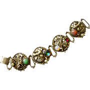 Unique Griffin & Comedy-Tragedy Mask Wide Bracelet with Faux Gemstones, Austro-Hungarian