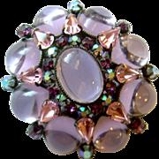 Schreiner Pink & Lilac Domed Crystal Flower Brooch