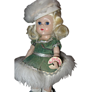 SALE Ginny in Green dress with white faux shawl and hat