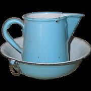 Antique Miniature Graniteware Enamel Doll Pitcher and Bowl