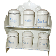 Antique German Doll House Kitchen Toleware Tin Canister Set - Marklin or Bing