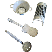 Antique Miniature Graniteware Enamel Large Scale Dollhouse Kitchen ware