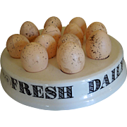 "SOLD Vintage English Ironstone Advertising Display Egg Stand or Tray - ""Fresh Daily"""