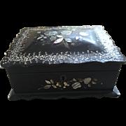 Victorian Ebonized & Mother of Pearl Papier Mache Box