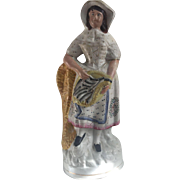 Victorian Staffordshire: Fisherman's Wife with Basket of Fish