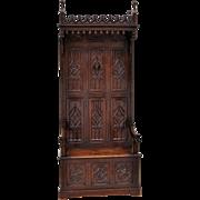 Walnut Antique French Gothic Hall Bench