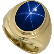 18.42 Ct Blue Star Sapphire 18 Karat Gold Men's Ring