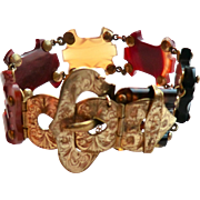 Victorian Scottish Agate Buckle Bracelet Gorgeous Agates Adjustable Buckle
