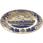 SOLD Bowdoin College Platter, Wedgwood, blue and white