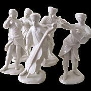 Five Nymphenburg Musicians, Blanc de Chine Porcelain