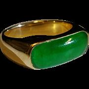14kyg Nephrite Jade saddle ring