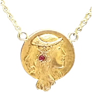 """Art Nouveau woman with ruby in hair on 16"""" chain c.1900"""