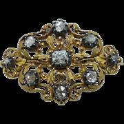 Georgian old mine and rose cut diamond pin