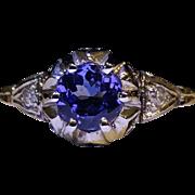 Platinum Tanzanite Ring in French mounting c. 1915