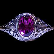 14k white gold filigree and pink tourmaline Art Deco  ring
