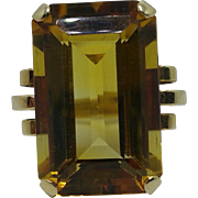 Retro moderne 14kyg large citrine ring c.1940