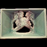 Vintage Haeger Green Pottery TV Lamp Dancing Flowers