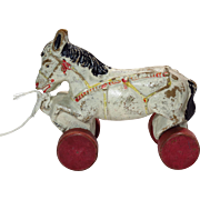 Vintage Composition Horse Pull Toy