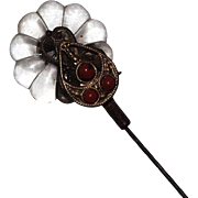 Darling Victorian Glass Flower and Coral Beads Hat Pin