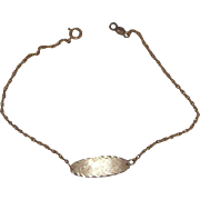 """Sweet 14 Kt Yellow gold rope Chain ID Bracelet Engraved """"Sharon"""""""
