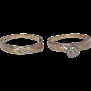 Wonderful 10 Kt Yellow Gold & Diamonds Wedding Set Engagement Ring & Band With Diamonds