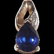 Dainty 10 Kt Yellow Gold Blue Sapphire and Diamond Pendant
