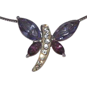 Stunning Sterling Silver Clear & Purple Glass Stones Dragonfly pendant On Sterling Silver Chai