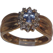 10 Kt yellow Gold Tanzanite and Diamonds Ring