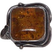 Sterling Silver Amber Ring Square Amber With Inclusions