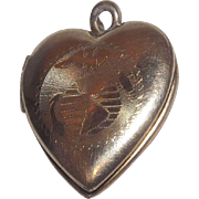 Wonderful Marine Sweetheart 10 Kt Gold Over Sterling Silver Locket / Pendant