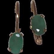 Wonderful 10 Kt Yellow Gold Natural Emerald Hoop Earrings