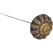 Victorian Era Ornate Black & Gold Tone Long Hat Pin