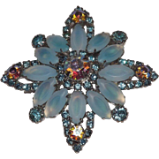 Frosted Blue Glass and Aurora Borealis Rhinestones Brooch