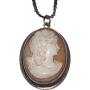 Sterling Silver Carved Shell Cameo Pendant With Chain Lady With Necklace