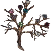 Sterling Silver Gold Vermiel Tree Of Life  Brooch  With Rhinestones