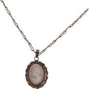 12 kt Gold Filled Carved Shell Cameo With Chain