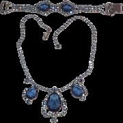 Blue Open Back Rhinestone Rhodium Plated necklace and Bracelet Demi Parure