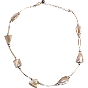 Sterling Silver Chunky Sterling Beads Necklace With Freshwater Pearl