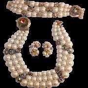 Exquisite Laguna Faux Pearls Aurora Borealis Demi Parure With Original Box And Receipt Rare ..