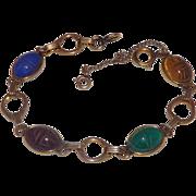 Fantastic Gold Filled Gemstones Scarab bracelet