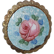 Lovely Guilloche Enamel Hat Pin With Hand Painted Rose