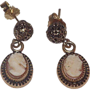Pretty 12 kt Gold Filled Shell Cameo Dangle Pierced Earrings